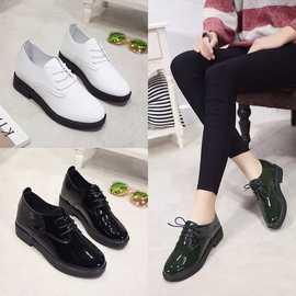 春秋韩版新款英伦学院风小皮鞋平底单鞋女粗跟系带黑色工作鞋女鞋