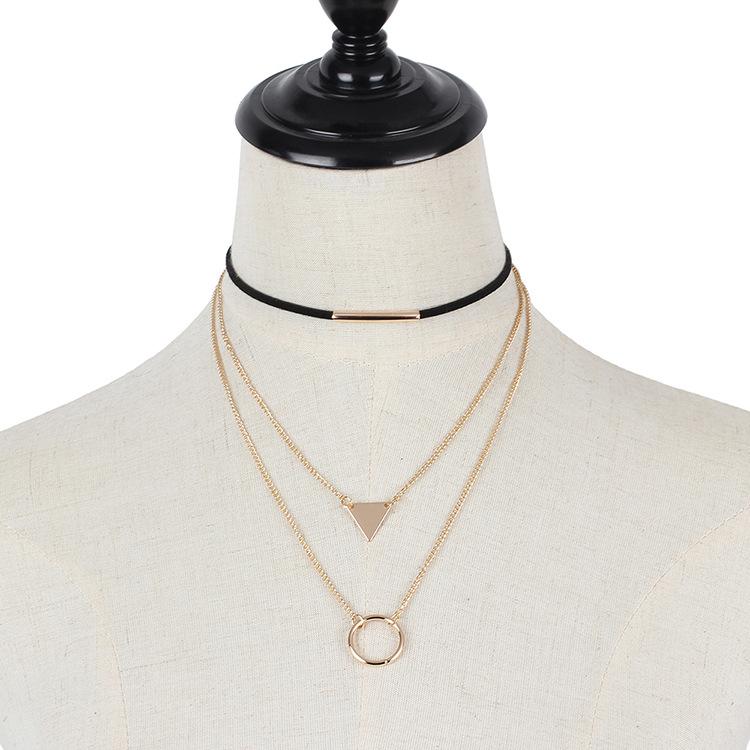 Fashion geometric sequins triangle multilayer Korean velvet choker circle necklace  NHRN260394
