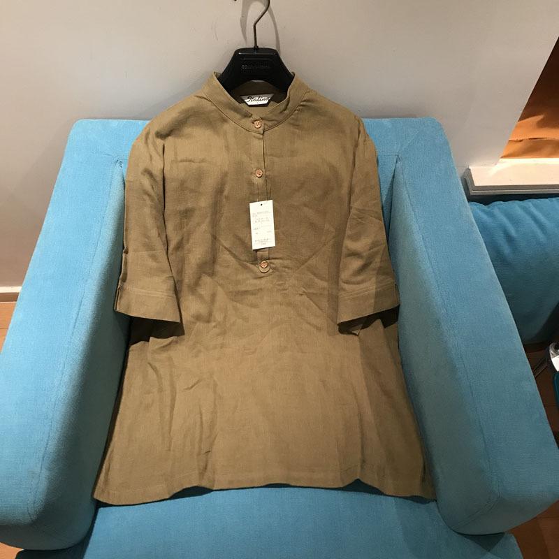 2019春夏新款原单日本出口订单亚麻T恤衫宽松短袖立领Tee大码女装