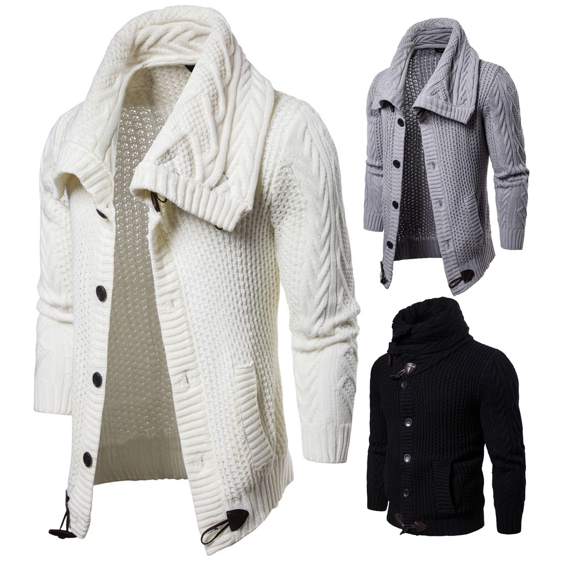 Sumitong men's autumn and winter wear new style men's woollen knitted cardigan coat men's Lapel solid color sweater