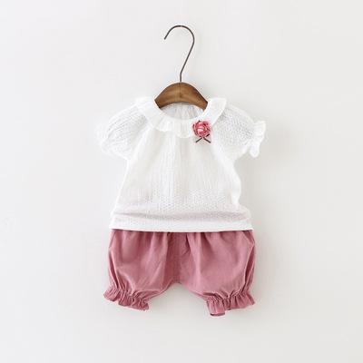 2018夏季新款女宝宝两件套装时尚短袖纯棉小女童外贸童装一件代发