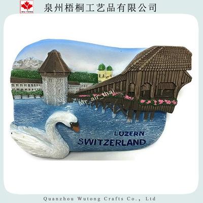 厂家直销瑞士风景3D立体树脂冰箱贴外贸出口高品质留言贴厨房装饰