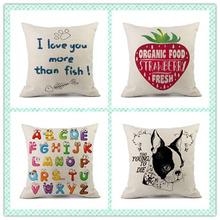 廠家熱賣字母亞麻家居沙發辦公抱枕靠枕套來圖定制