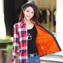 依鹿顺2018新款弹力女装格子衬衫女加绒韩版修身加厚保暖衬衣外套
