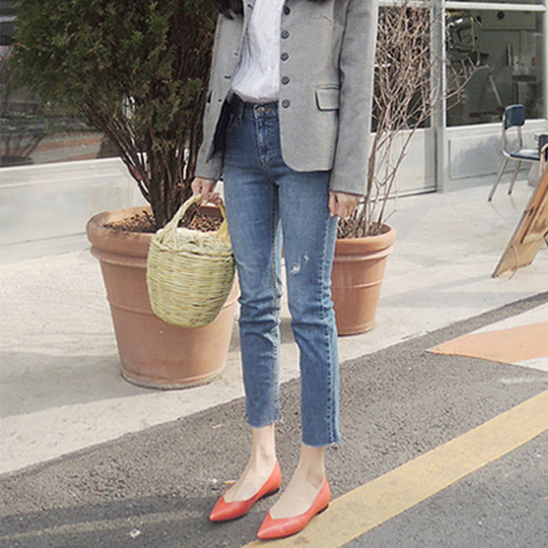 牛仔裤女2019春秋新款韩版chic复古蓝色八分高腰小直筒破洞单款