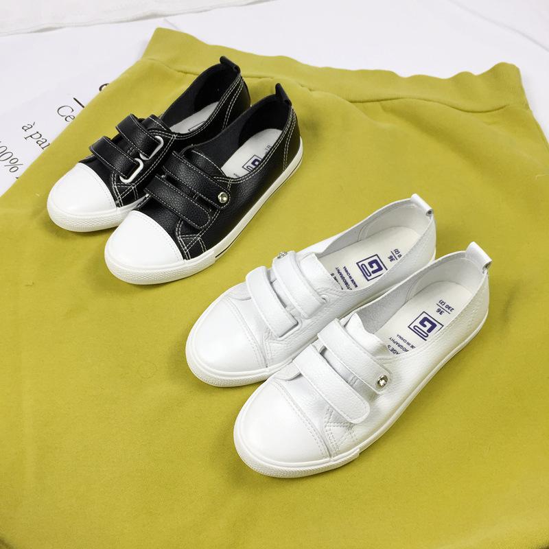 2020春夏浅口小白鞋女魔术贴一脚蹬女鞋春夏韩版休闲鞋杰飞乐8603