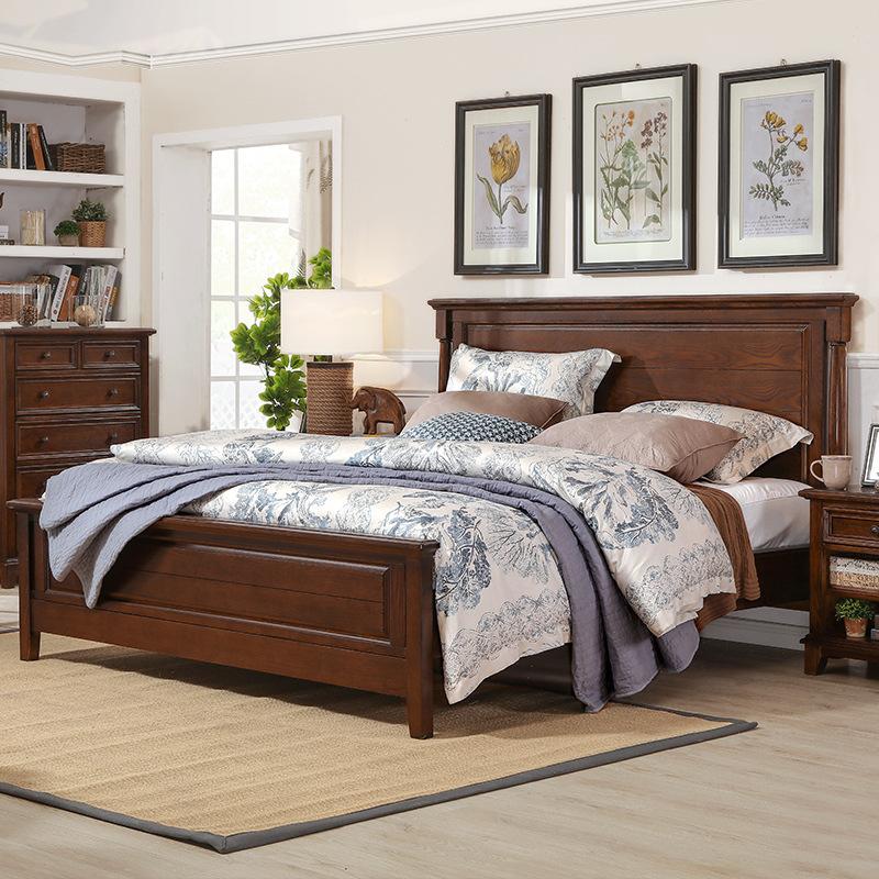 紅橡木美式鄉村實木床水曲柳實木家具臥室家具床雙人床1.8米婚床