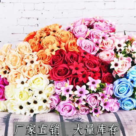 Nhà máy trực tiếp 12  Pattaya bó hoa hồng mô phỏng bó hoa vải chà nhám phiên bản châu Âu trang trí nhà cưới
