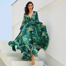 夏季亞馬遜新款燈籠袖V領綠色葉子印花裙 大擺裙 新增加厚版