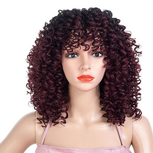 Curly Hair Wigs Custom wig female long curly hair gradient African small curl Synthetic wigs wig Headcover