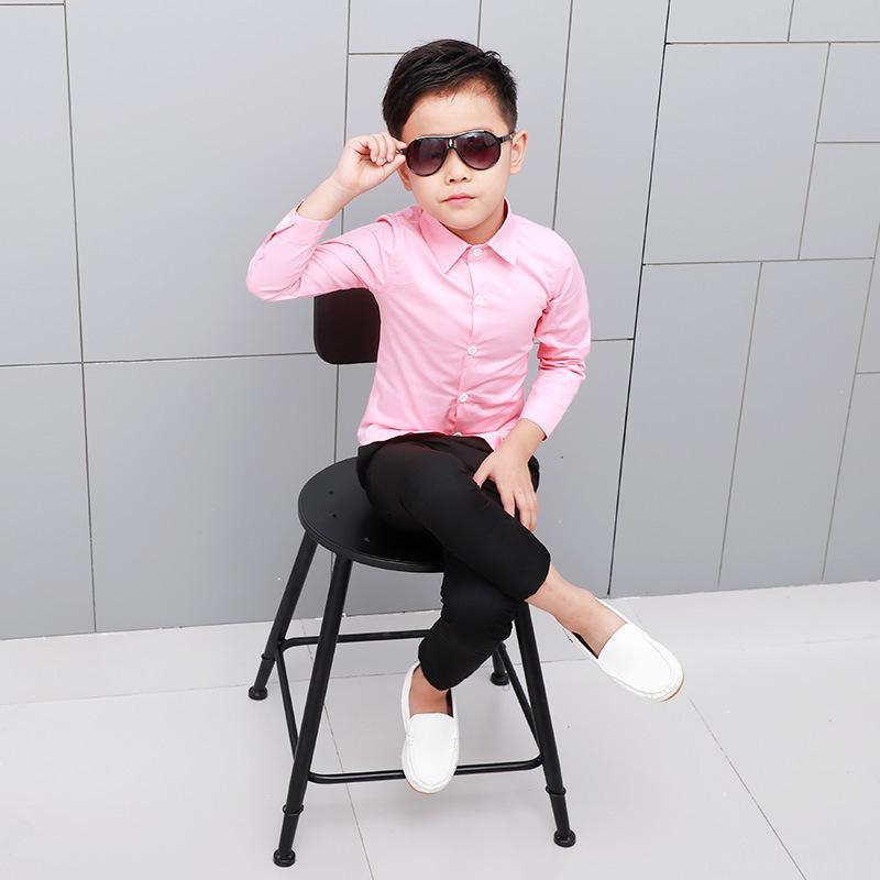 2020童裝新款男童長袖襯衫純色兒童襯衣打底網店代理韓版上衣代發