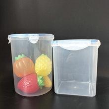 供應2l方密封桶 2L透明方形塑料罐 保鮮pp桶透明塑料瓶1000ml