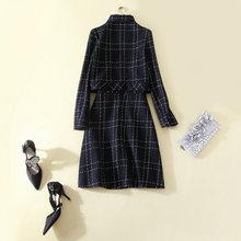 新款同款粗呢格子秋冬款套装修身上衣背心裙女套装两件套衫连衣裙