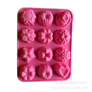 Silicone mold 12 flowers silicone cake mold Chocolate mold Pudding mold