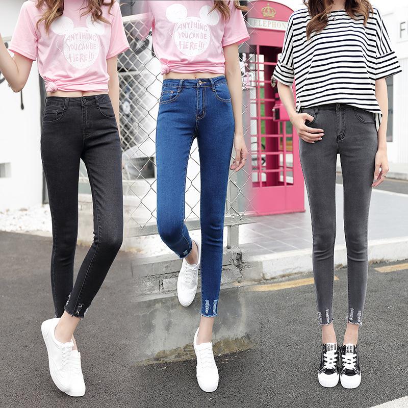 春秋牛子裤子女韩版显瘦修身牛仔裤女装细腿小脚铅笔女款一件代发