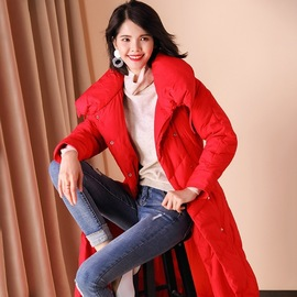 Winter fashion long down jacket women's solid color waist tie women's jacket loose thin collar