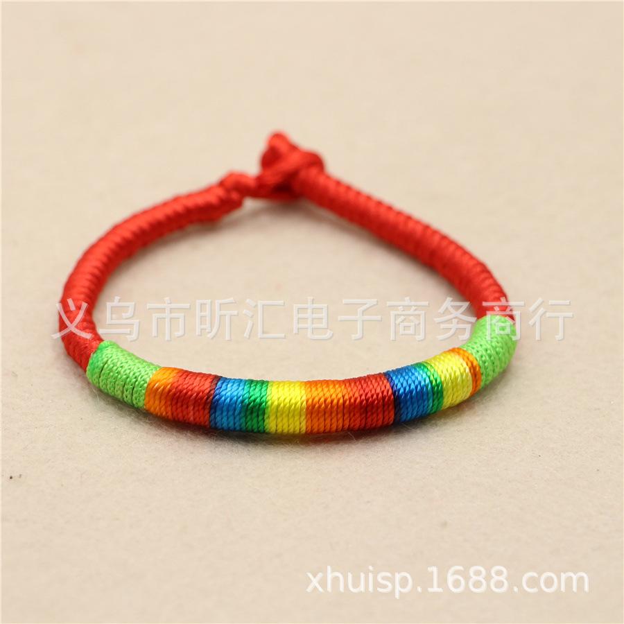 民族风红色五彩线手链 本命年金刚结端午节红绳 五彩绳手绳