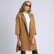 2018秋冬新款欧美女装针织大衣长款系带收腰修身显瘦女式毛呢外套