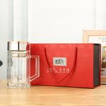 新款杯子双层商务玻璃杯 透明水杯礼品办公杯盒装定制logo批发