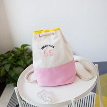 新款日系简约森系复古学院风字母帆布包双肩单肩包手提包小水桶包