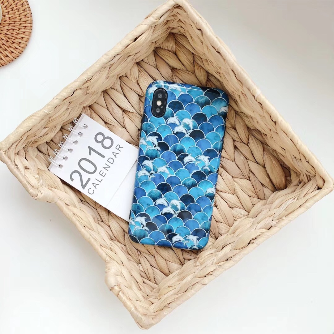 Fish scales wavy dolphins apple X mobile phone shell iphone6s/7/8plus glossy soft shell men and women tide