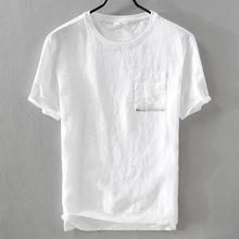 男士口袋短袖t恤棉麻拼接休闲白色上衣半袖亚麻T恤一件代发可退货