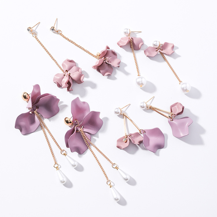 Alloy Korea Flowers earring  (K1207 Beads) NHMS0988-K1207-Beads