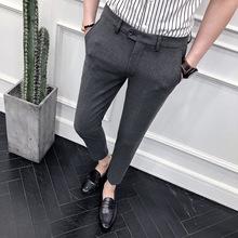 2018春夏季男士韩版九分裤青年英伦发型师修身条纹小西裤