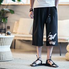 中国风春秋男士棉麻 亚麻韩版时?#34892;?#38386;七分裤阔腿裤宽松男士短裤
