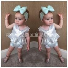 速賣通ebay外貿夏季爆款女童炫彩亮布無袖小擺裙+短褲兩件套