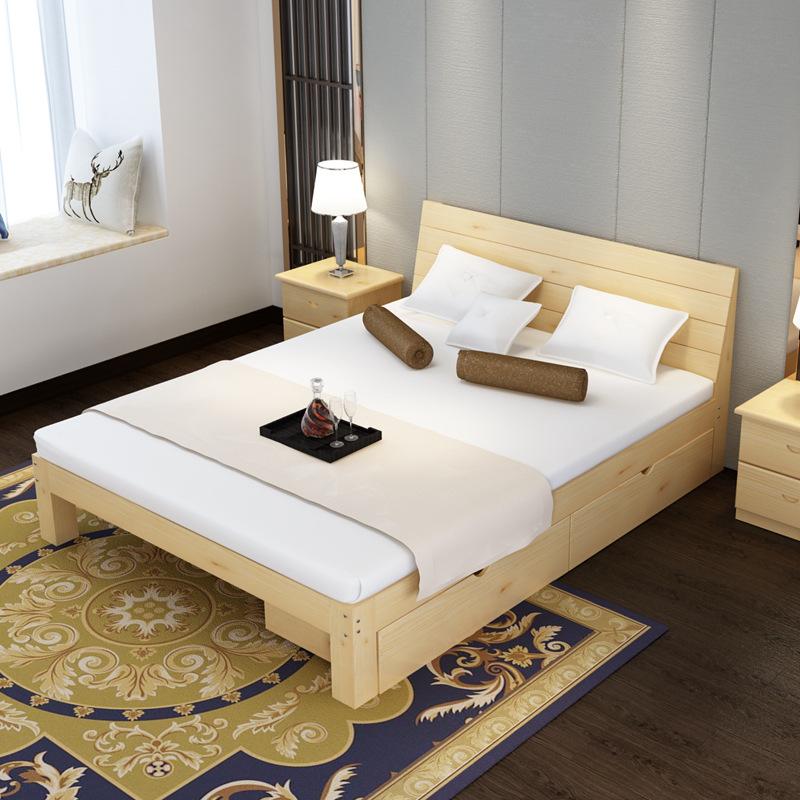 床全现代式主卧18米双人15实木简约储物床12米135