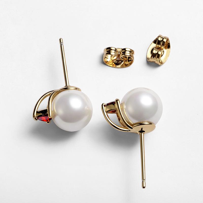Alloy Simple Geometric earring  Red stone beads stud earrings NHLJ4172Redstonebeadsstudearrings