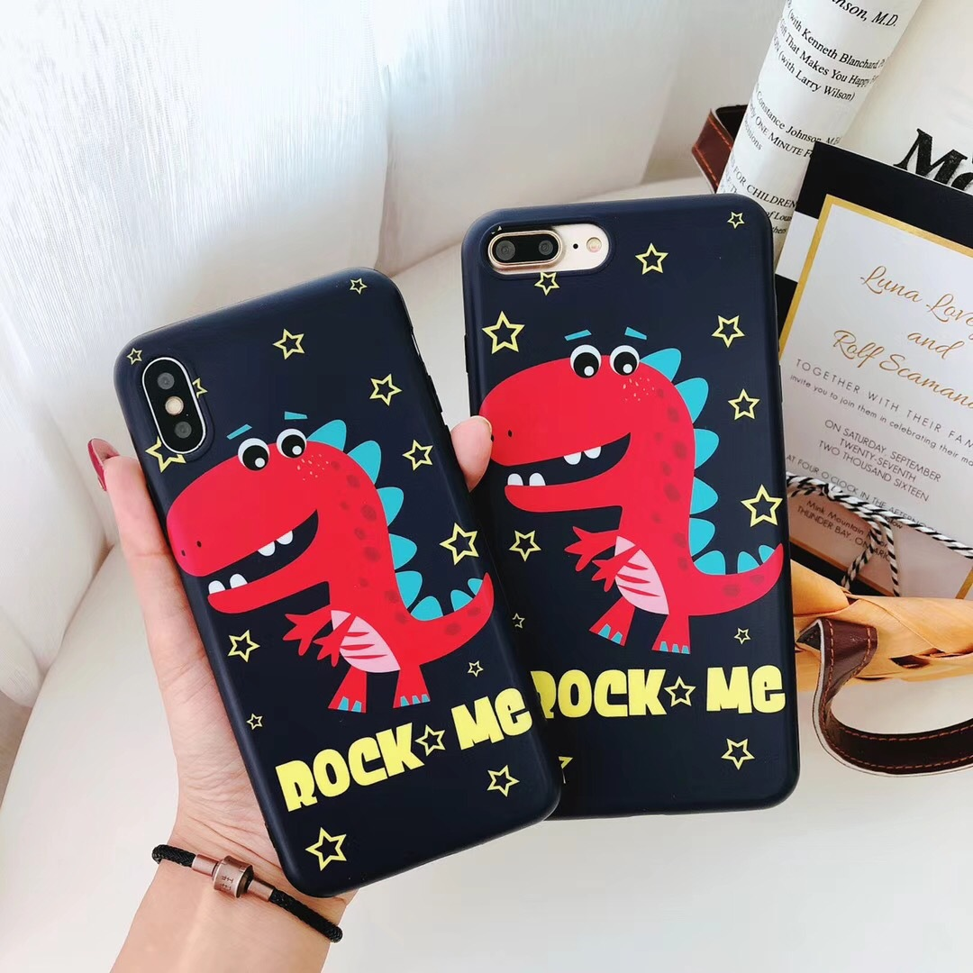 Cute male and female small dinosaur iPhone7plus mobile phone shell Apple X/6/8/6s creative all-inclusive men and women models