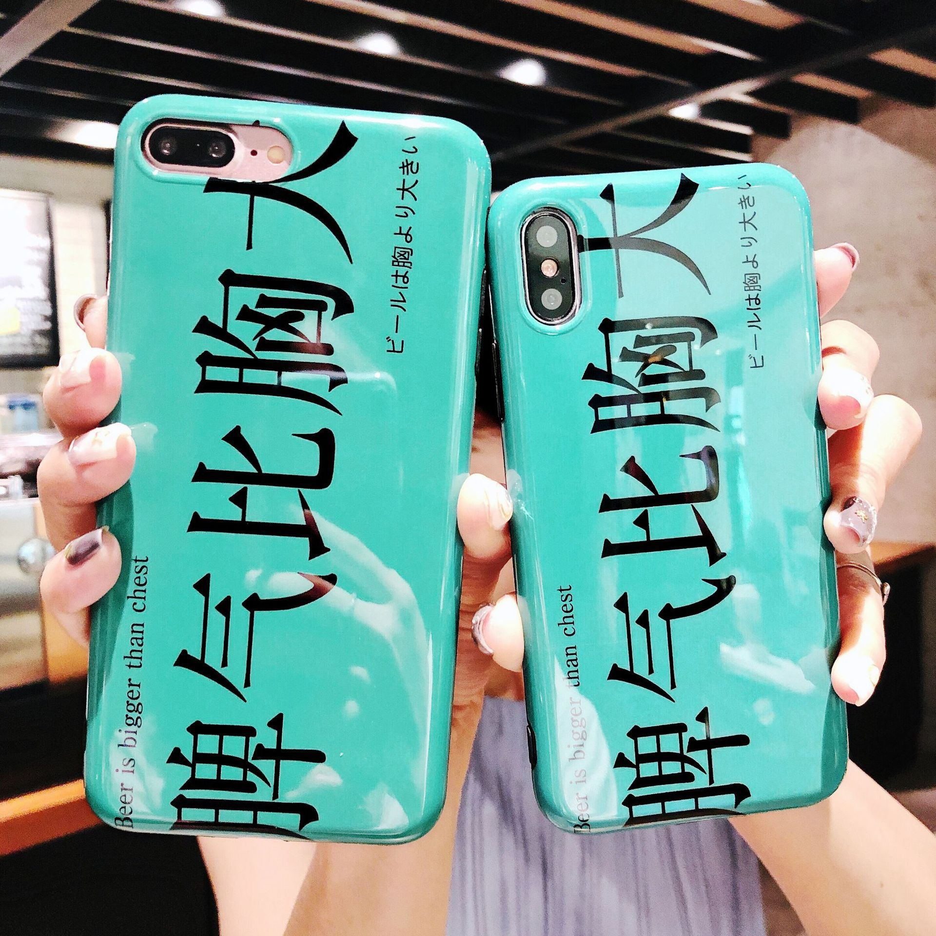 Glossy iPhoneX Mobile Shell Creative Temper Than Big Apple 6splus Silicone IMD7/8p Cover Tide