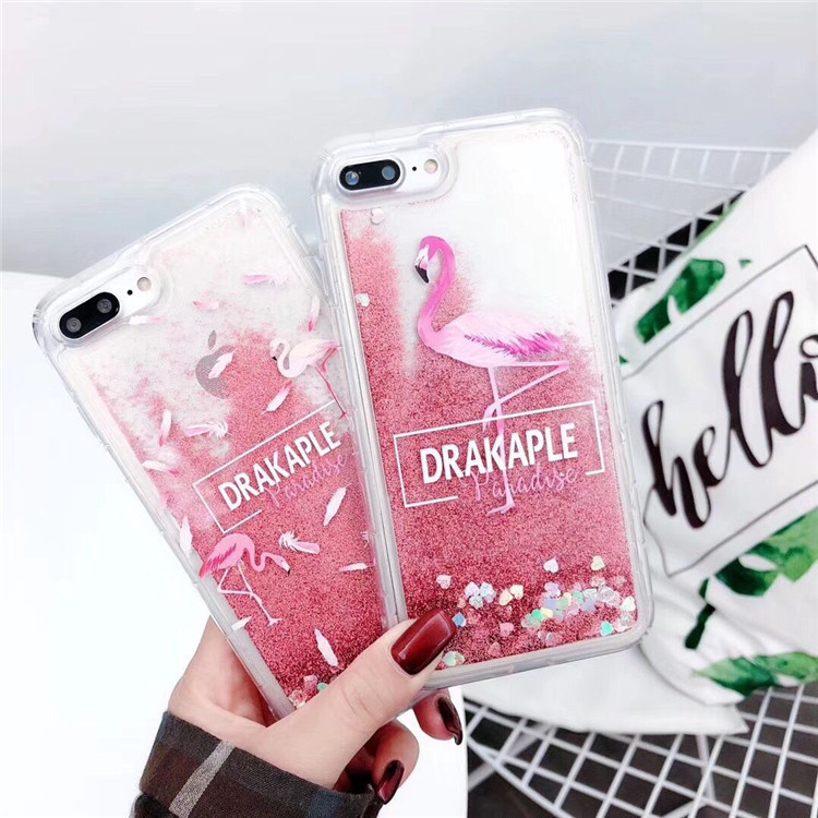 New Flamingo XR Xsmax Quicksand Mobile Shell Liquid Applicable XR 7p 8 Transparent Cover 8P 6s