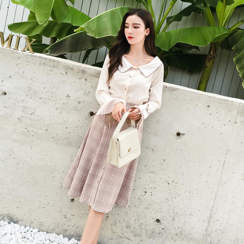 2019春新款韩版女装喇叭袖上衣+格子半身裙小香风两件套淑女套装