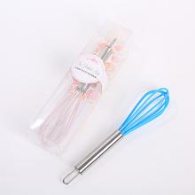 結婚回禮小物硅膠頭粉色/藍色攪拌器創意不銹鋼打蛋器手動和面器