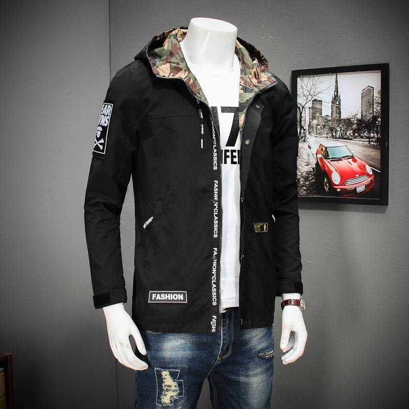 春季新款男士青年胖子加肥加大码时尚休闲连帽夹克男短款风衣外套