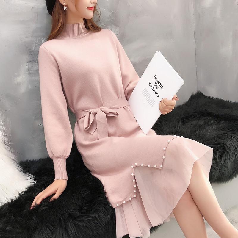 批发2018冬新款个性领钉珠针织连衣裙拼网纱打底毛衣中长款系腰带