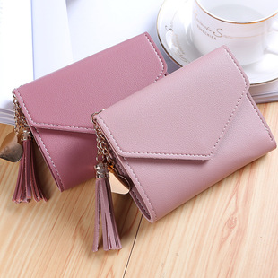 New women's lychee pattern simple metal heart-shaped pendant with tassels short coin purse fashionable multifunctional wallet
