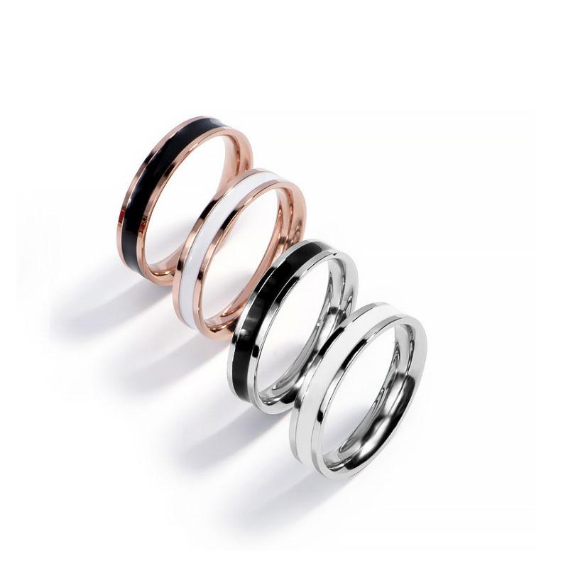 J09抖音韩版不锈钢时尚戒指 玫瑰金黑白滴胶戒指情侣尾戒对戒