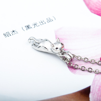 Cartoon kitten pendant necklace environmental protection gold plated silver animal cat necklace clavicle chain NHCU194772
