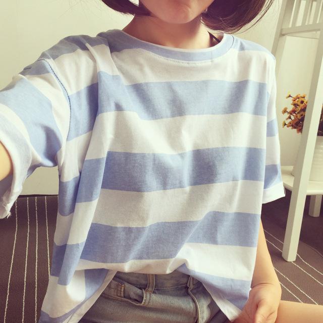 批发2019夏季新款韩版条纹短袖t恤女士宽松衣服上衣女装一件代发