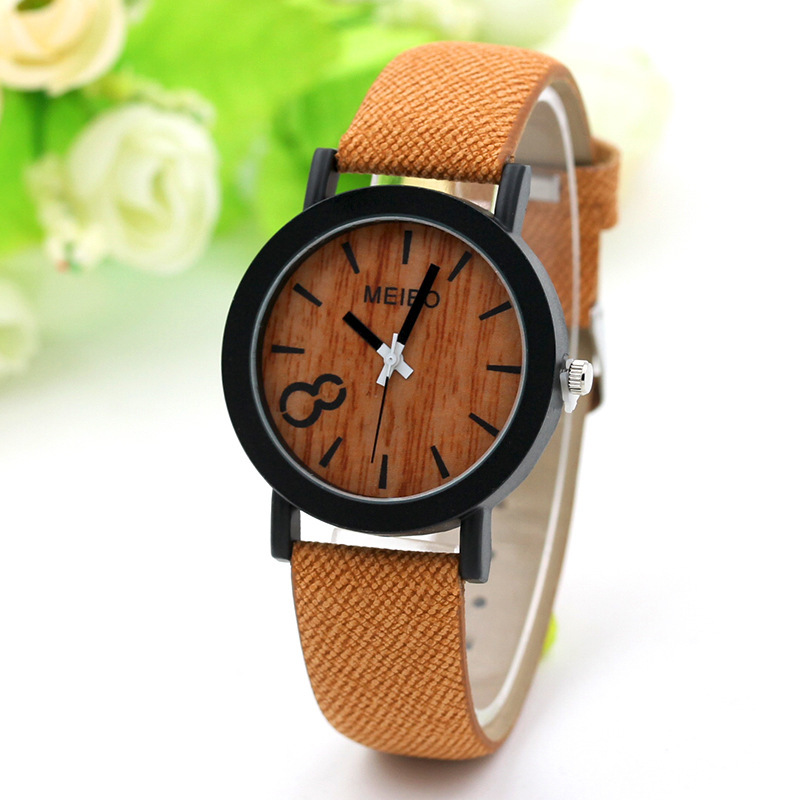 Popular wood 8-character black shell watch women's wood women's watch belt European and American accessories women's watch wholesale