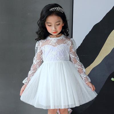 2018 mùa xuân và mùa hè mới dài tay ren cổ áo công chúa nhỏ ăn mặc cô gái dài tay ăn mặc các nhà sản xuất một thế hệ của tóc