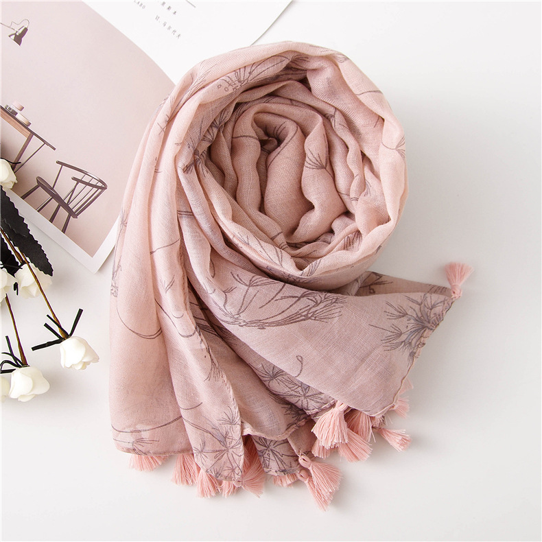 Korean style spring scarf female shawl color white small fresh flower print cotton and linen scarf female long thin shawl NHGD177949