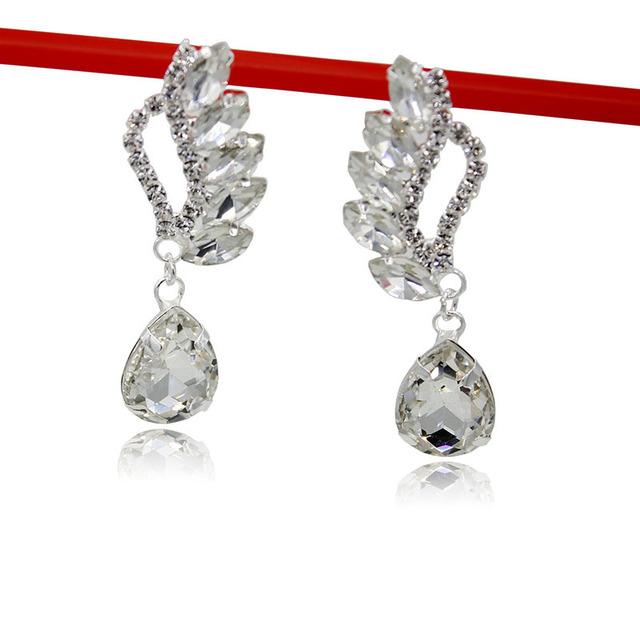 新款欧美时尚水钻耳钉百搭个性宝石耳饰新娘925银针耳环厂家直销