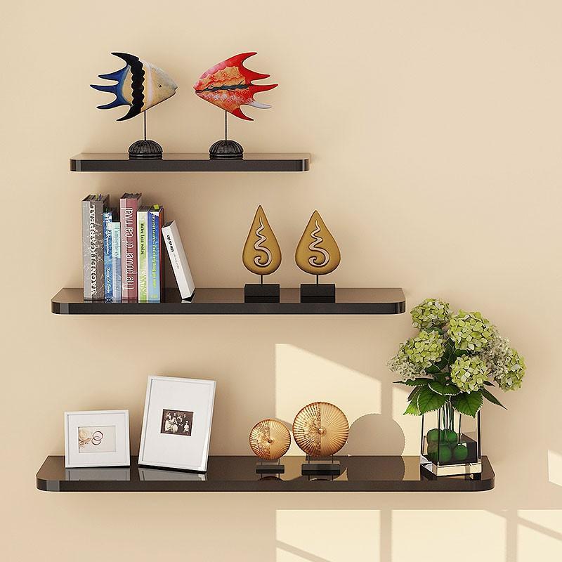 装饰一字板面层板室内工艺黑色搁物板简易墙上欧式书架简单壁挂式
