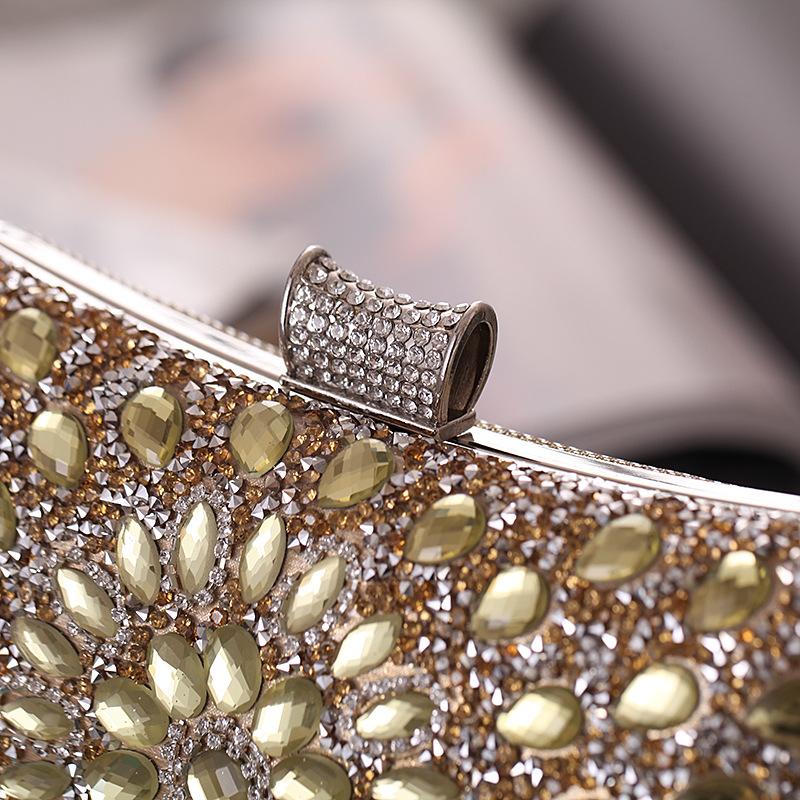 Bolsas Nueva Europa y Estados Unidos Cena Bolsa de recepción Vidrio Diamante Bolso de noche Banquete Embrague de mujer NHYG182995