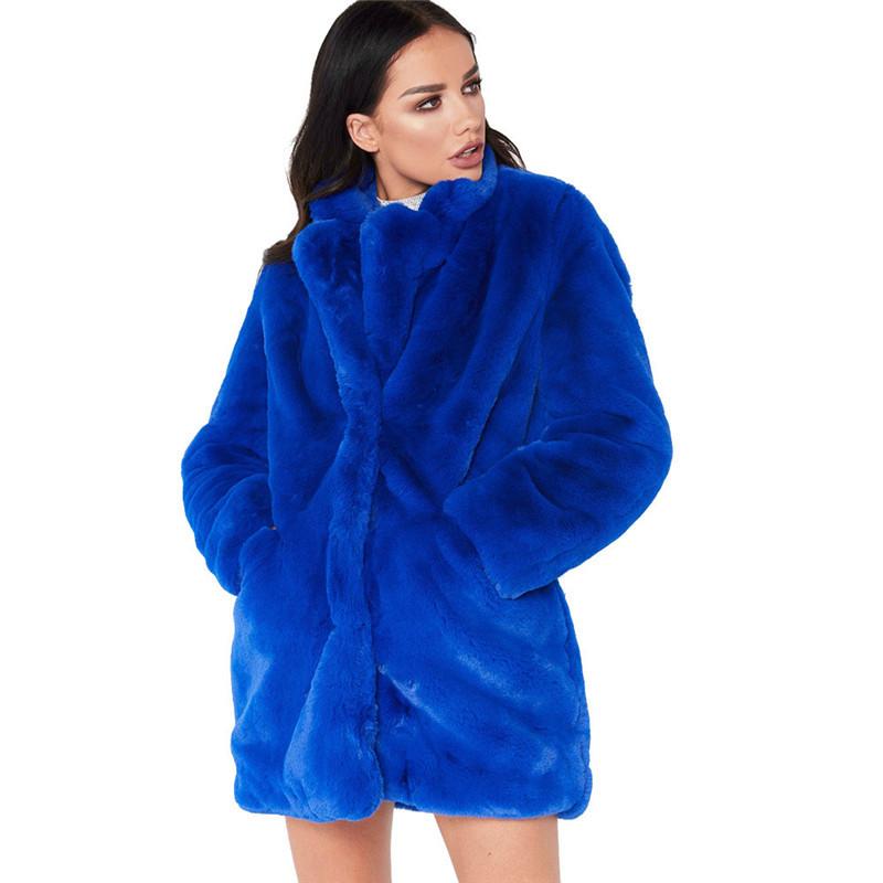 仿皮草外套冬季女士大衣2019蓬松仿皮草保暖外套大衣长袖夹克